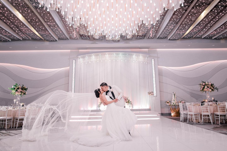 Newlyweds Celebrating Their Love in Modern Ballroom at Metropol in Los Angeles Ca