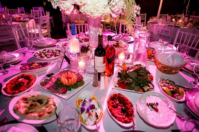 Armenian wedding table full of food