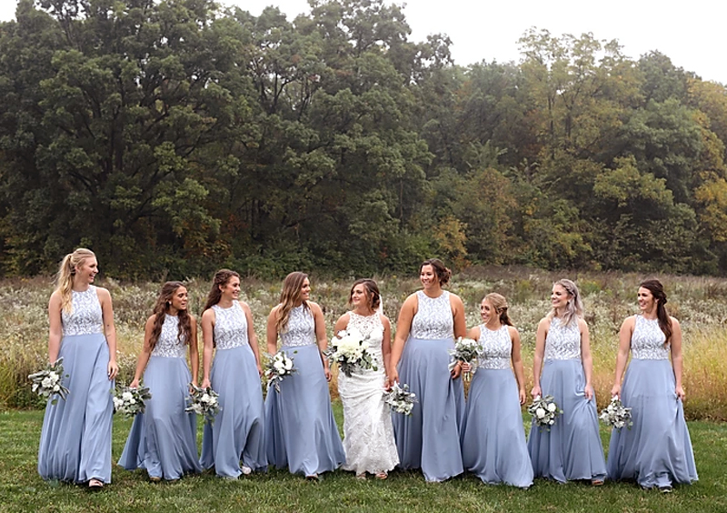 Disappearing Wedding Trends - Bridesmaids Wearing Matching Bridesmaid Dresses Outside