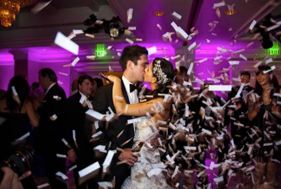 Wedding Reception Entrance - Wedding Couple With Confetti