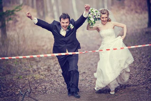 Wedding Reception Entrance - Bride And Groom Crossing Finish Line