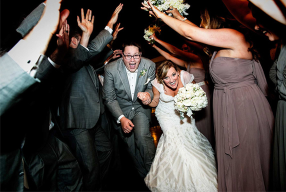 Wedding Reception Entrance - Bride And Groom In Human Tunnel
