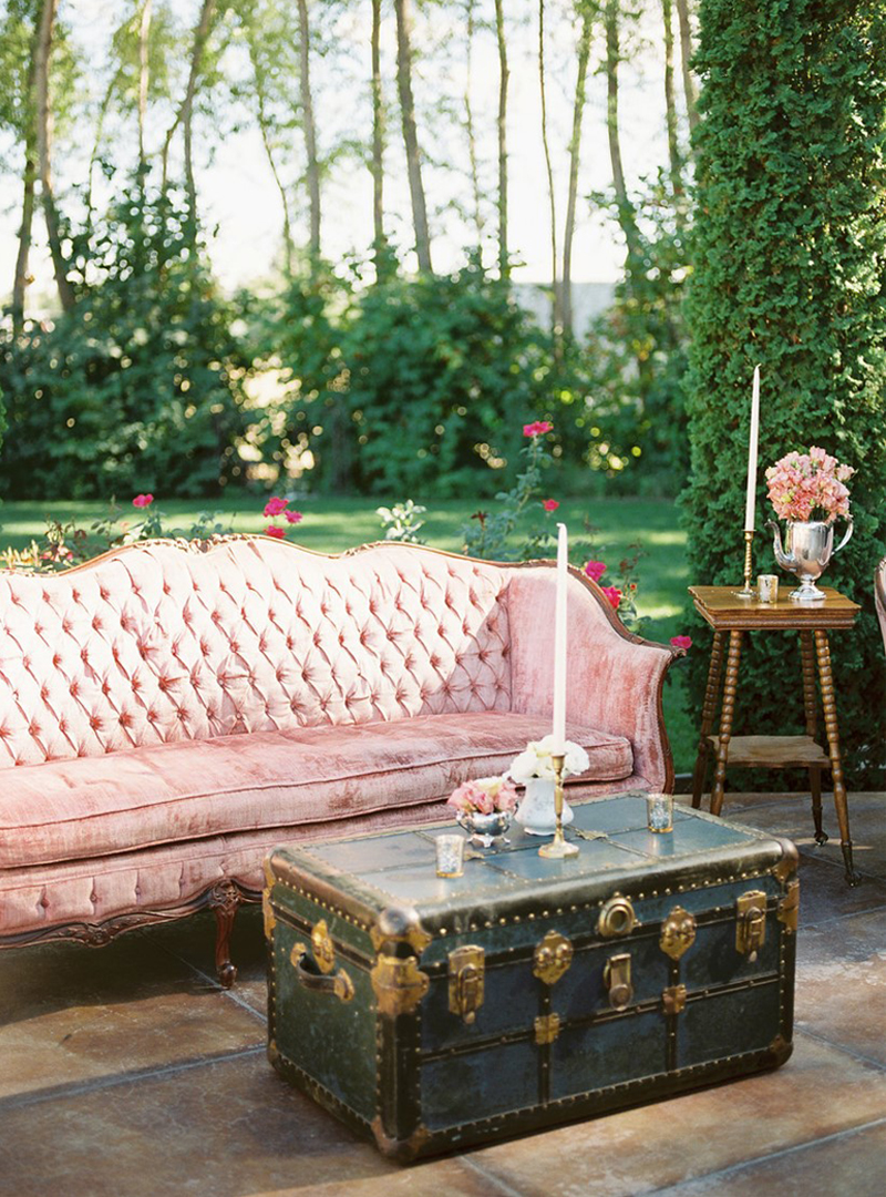 Disappearing Wedding Trends - Pink Velvet Couch Outside