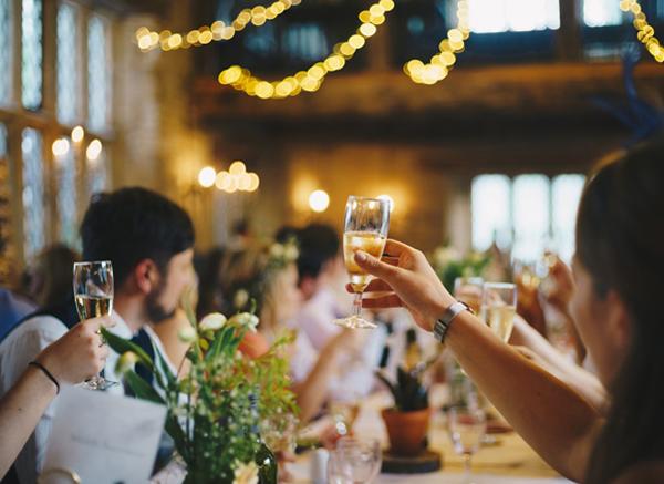 Guests Toasting At Wedding Celebration