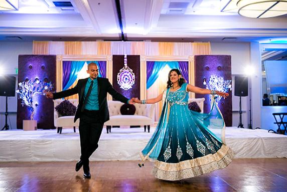 Wedding Reception Entrance - Indian Bride And Groom Dancing